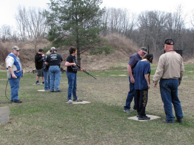 youth shooting shotgun trap at Chief Okemos Sportsmans Club in Dimondale Michigan