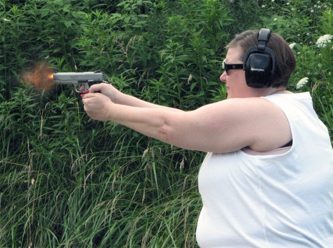 woman shooting handgun