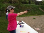 Learning handgun shooting during the Ladies, Ladies, Ladies group